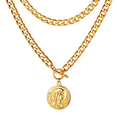 FaithHeart 9MM NK 1:1 Choker Necklace, Customize Available Gift for Women/Men, Gold Plated Virgin Mary Medal Charms Pendant Necklace (Send Gift Box)