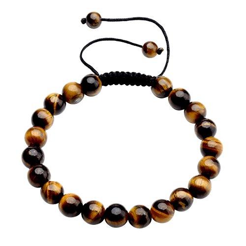 Top Plaza Lava Rock Agate Onyx Tiger Eye Stone Gemstone Bead Healing Power Bracelet W/Adjustable Braided Macrame Tassels