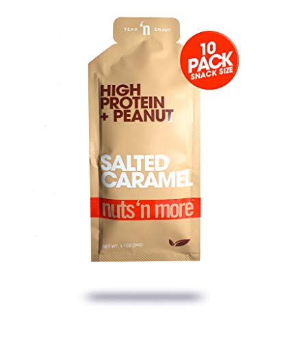Nuts N More Salted Caramel Peanut Spread, High Protein, Keto, Great Tasting, All Natural Sports Nutrition, 10-Pack Snack Size