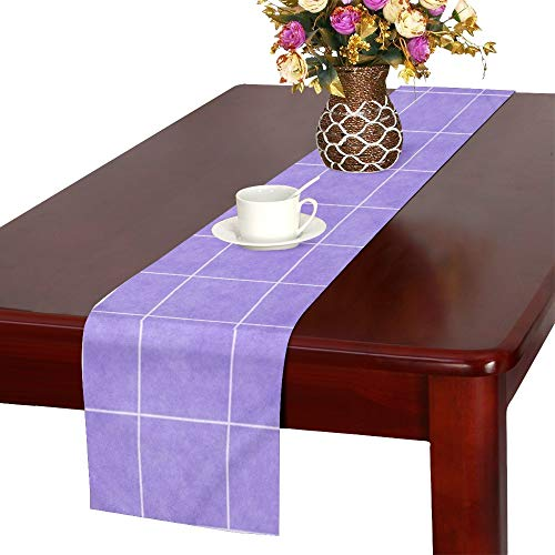 Grid Square Rectangle Pattern Template Colorful Table Runner, Kitchen Dining Table Runner 16 X 72 Inch For Dinner Parties, Events, -