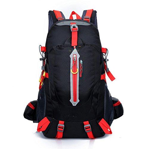 LQABW Los Hombres De Hombro Montañismo Montar Viaje Y Mujeres Caminando Tela Impermeable Oxford Camping 40L Mochila De Senderismo,Black Black