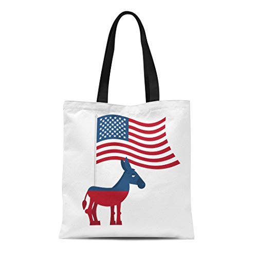Semtomn Cotton Canvas Tote Bag Donkey Democrat on Symbol of Political Party in America Reusable Shoulder Grocery Shopping Bags Handbag Printed -