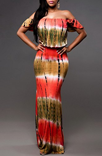 Estate Beach Dress Fit Print Bohemia Donna COMVIP Party Slim Rosso Maxi Hw8qIn5Wn