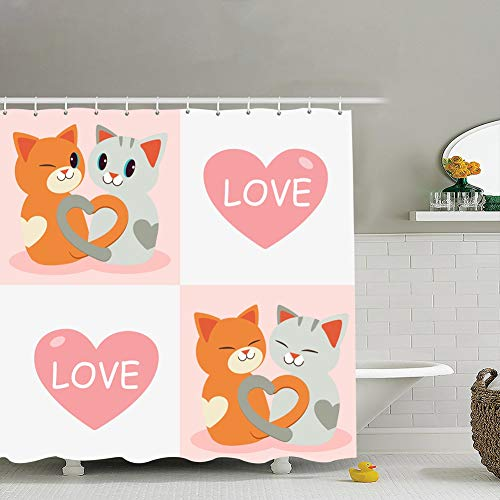 Shower Curtain Liner,18x18 Cute Character Cartoon cat Them Tail Animals Wildlife Design Animals Wildlife Holidays Design Holidays,Waterproof,Polyester 72x72 (Cartoon Characters From The 60s And 70s)