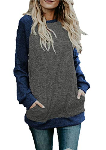 BLUETIME Plus Size Tunic Women Cotton Knitted Color Block Casual Tops Shirts (XXL, Navy Blue) ()