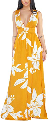 Women's Bodycon Sleeveless Dress Sexy Summer Deep V Neck Backless Floral Long Cocktai Gown Casual Stretchy Loose Evening Flowy Outfits Empire Waist Fasten Back Yellow
