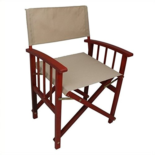 International Caravan FA-080A-2CH-BRD-KH-IC Furniture Piece Set of Two Directors Chair with Mission Style (Brd Set)