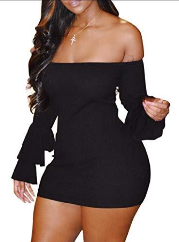 Ainr Femmes Sexy Hors Manches Cloche Fusée Longue Épaule Bodycon Club Fête Mini-robe Noire