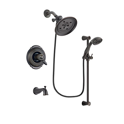 Delta Victorian Venetian Bronze Thermostatic Tub and Shower Faucet System with Large Rain Shower Head and Personal Handheld Shower Spray with Slide Bar Includes Rough-in Valve and Tub Spout DSP2683V