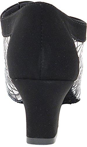 Scarpe Da Ballo Donna Scarpe Da Ballo Partito Salsa 1643eb Confortevole-molto Fine 2 {fascio Di 5} Nubuck Nero E Maglia # 115