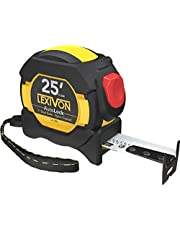 LEXIVON 25Ft/7.5m AutoLock Tape Measure   1-Inch Wide Blade with Nylon Coating, Matte Finish White & Yellow Dual Sided Rule Print   Ft/Inch/Fractions/Metric (LX-205)