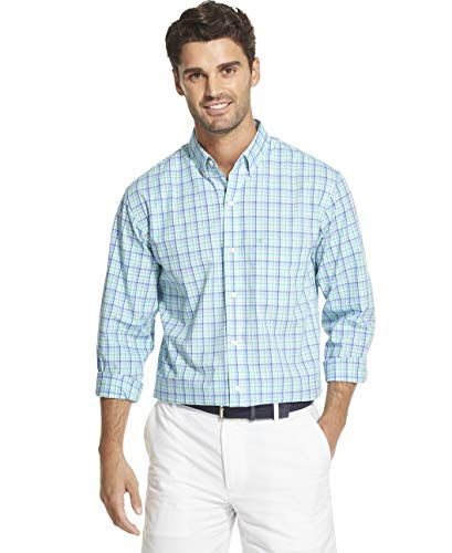(IZOD Men's Slim Fit Button Down Long Sleeve Stretch Performance Plaid Shirt, florida Keys, Medium Slim)