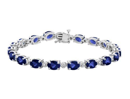 Created Sapphire Bracelet with Diamonds 15.80 Carats ctw in Sterling Silver