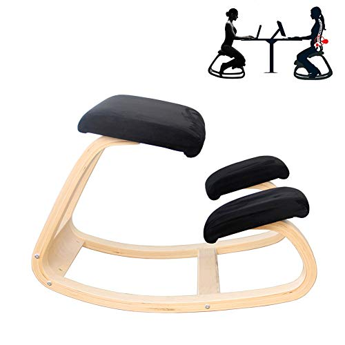 DOOKK Varier Variable balans,Ergonomic Kneeling Chair Natural Lacquered Wood 72x52x51 cm,Black