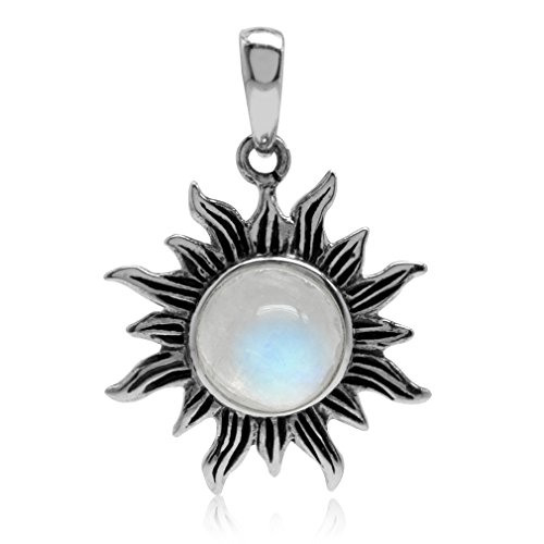 Natural Moonstone 925 Sterling Silver Sun Solitaire ()