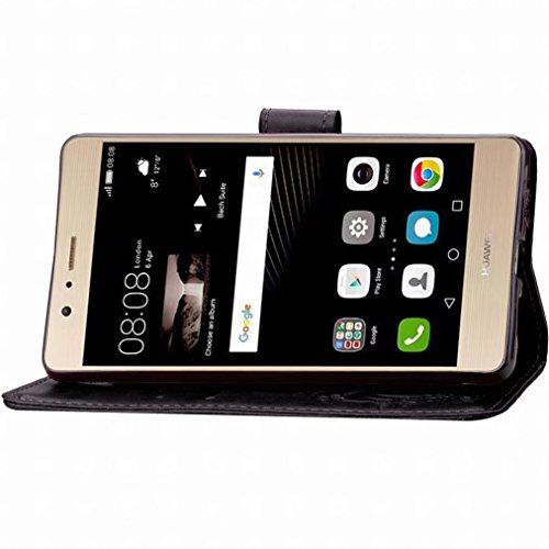 Yiizy Huawei P9 Lite / G9 Lite / Honor 8 Smart Funda, Tres Hoja Hierba Diseño Solapa Flip Billetera Carcasa Tapa Estuches Premium PU Cuero Cover Cáscara Bumper Protector Slim Piel Shell Case Stand Ran