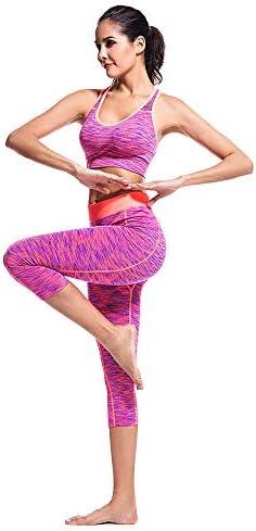 レディースジャージ上下セット 女性の速乾性の吸い上げクロップドパンツスーツヨガ服スチールリングスポーツブラ (サイズ : XL)
