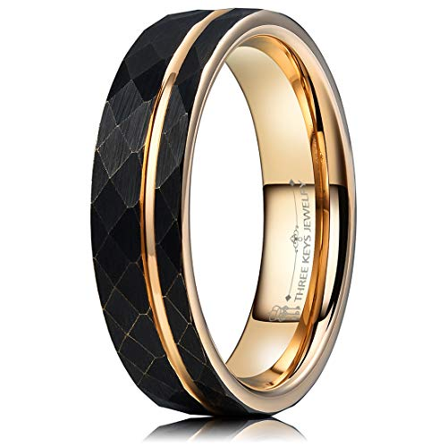 - THREE KEYS JEWELRY 6mm Hammered Brushed Black Tungsten Wedding Ring with Rose Gold Interior & Stripe Wedding Band Engagement Ring Promise Ring Size 9.5