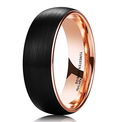 King Will DUO 8mm Women Men Black Tungsten Carbide Ring Matte Brushed Finish Dome 18K Rose Gold Plated Comfort Fit Wedding Band 75