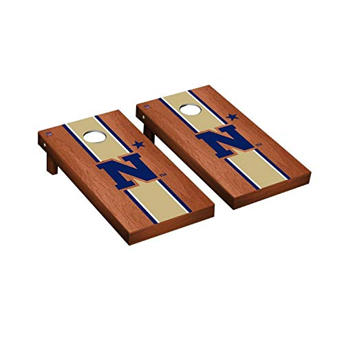 Victory Tailgate Regulation Collegiate NCAA Rosewood Stained Stripe Series Cornhole Board Set - 2 Boards, 8 Bags - Naval Academy Midshipmen