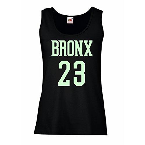 lepni.me Camisetas sin Mangas para Mujer Bronx 23 - Moda de Estilo Callejero (Small Negro Fluorescente)