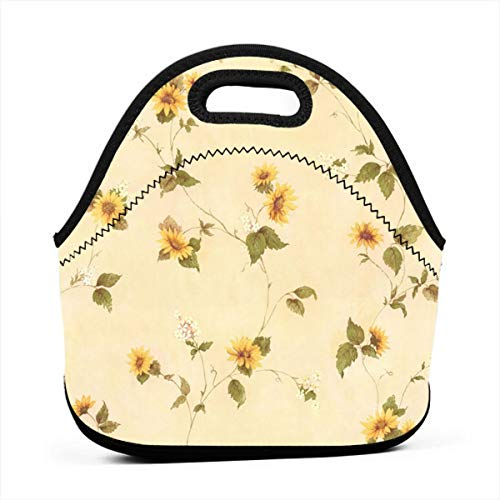 Portable Work Bento Lunch Bag Yellow Floral Outdoor Travel Picnic Waterproof Lunch Carry Case