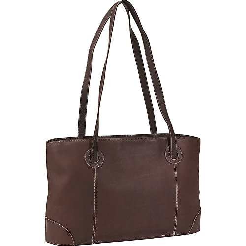 Piel Leather Shopping Tote, Chocolate, One Size by Piel Leather
