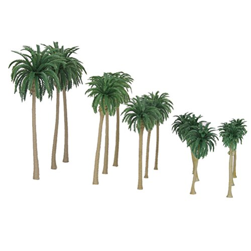 NUOLUX Model Tree 15Pcs 5 Size Scenery Model Coconut Palm Trees HO O N Z Scale