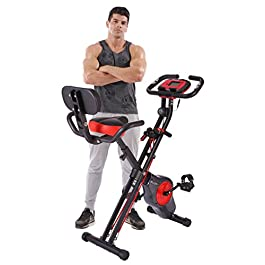 Pleny Folding Fitness Exercise Bike with Resistance Bands, 1...