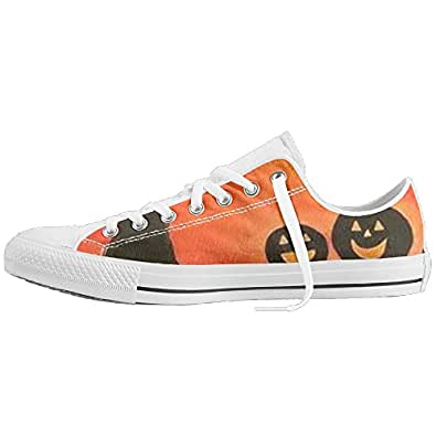 Halloween Pumpkin Custom Lace-up Low Top Sneakers Unisex Cavas Shoes