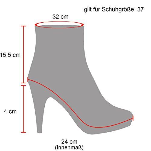 Stiefelparadies Damen Stiefeletten Schlupfstiefel Leicht Gefüttert Flandell Grau Reißverschluss