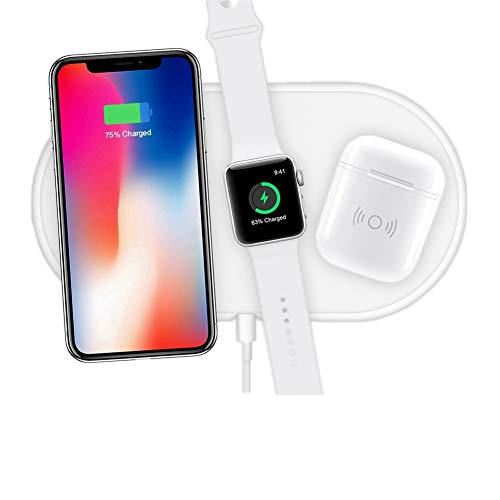 Hisri 3 in 1 Qi Wireless Charging Pad,Fast Wireless Charger Compatible for iPhone X/XS Max/8/8 Plus Apple Watch Series 4/3/2 Airpods Samsung Galaxy Note 8/S9/S8 and All Qi Enable Device (White 3 in 1)