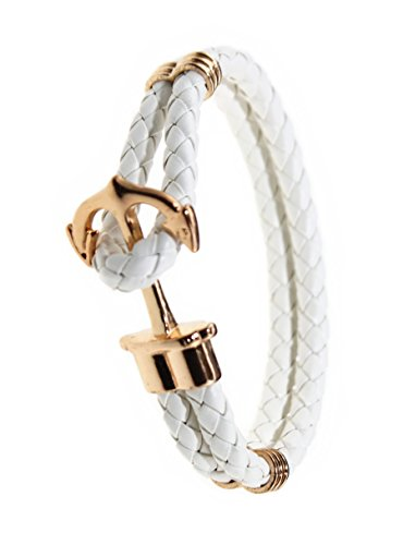 New York Rope - Happiness Jewelry Unisex PU Leather Bracelet With Anchor Alloy Clasp 8.6 Inches Length (White Gold)