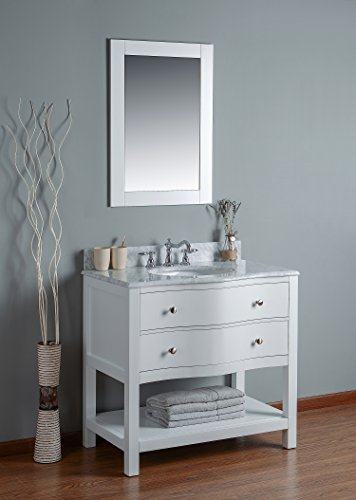 Rubeza 36 Inch Tarsus Bathroom Vanity White Italian Marble Carrara Top with mirror - 36' Bathroom Vanity Top