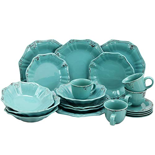 Dj_siphraya Dinnerware Set Dishes Plates Bowls Cups Saucers Green with brown trim Made from Stoneware material Includes:Dinner Plates 10.5