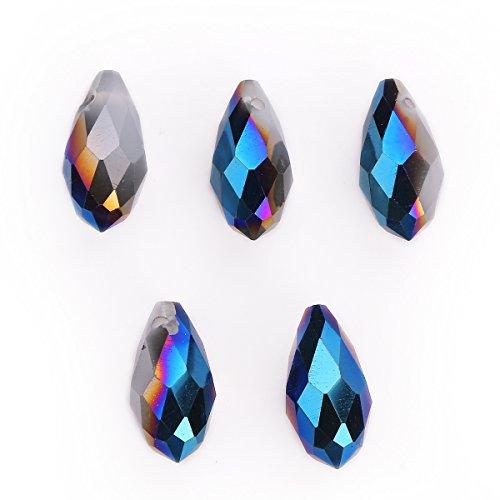 15Pcs Charms DIY Jewelry Makings Teardrop Pendant Spacer Loose Pendant Beads 6x12mm (White Jade Half Metal Blue) ()
