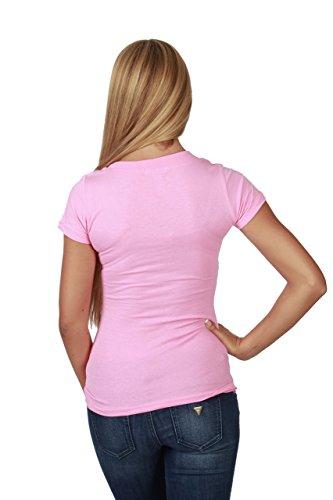 Hollywood Star Fashion - Camiseta de manga corta con cuello en V Rosado Sweet Pink