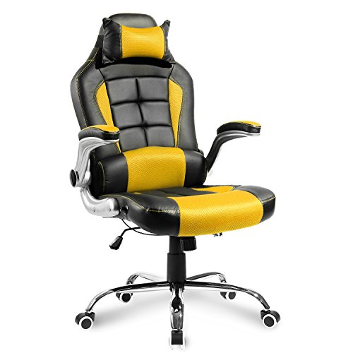 Merax Executive Office Chair PU and Mesh Computer Desk Chair Swivel Racing Chair High Back Gaming Chair (black and yellow) Merax