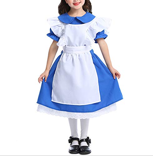 Mitef Dark Blue Girl Costume Halloween Princess Dress Performance Clothing Alice Maid Costume,XL ()