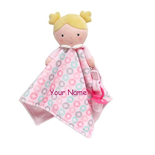 Personalized Dolly Blanky Cuddle Baby Snuggle Blanket Pacifier Holder - 19 Inches (Dolly Infant Blankets)