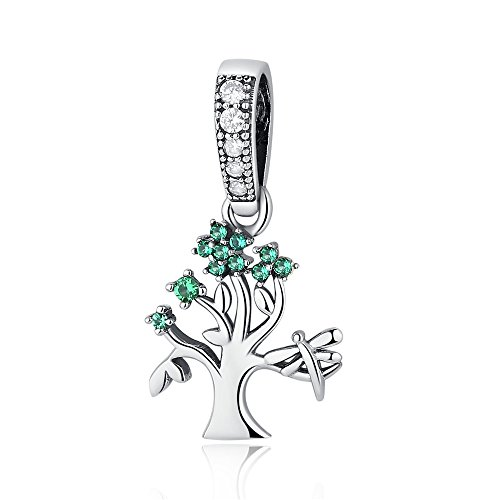 (Pendant Dangle Charms Beads,Sterling Silver Charms Beads,Tree of life Family tree Charms Filled Green Birthstone fits for European Snake Chain Bracelet BISAER)