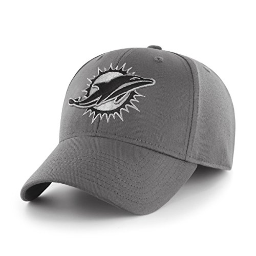 OTS NFL Miami Dolphins Men's Comer Center Stretch Fit Hat, Charcoal, Medium/Large