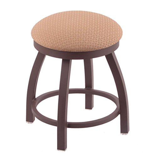 Upholstered Vanity Swivel Stool (Holland Bar Stool Co. 802 Misha Vanity Stool with Bronze Finish and Swivel Seat, 18