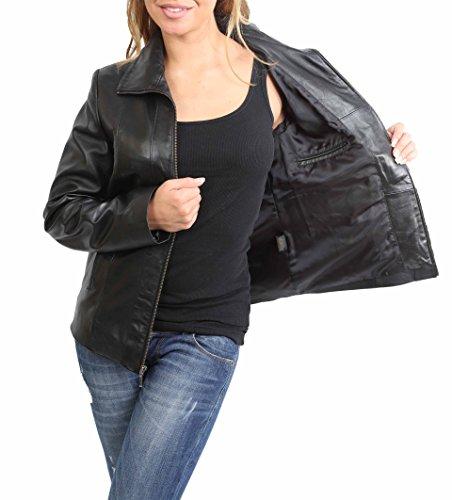 Pelle Giacca Di Classica In Donna Up attrezzato Zip Nero Semi Julia Agnello Cappotto Vera qtyqdcf8