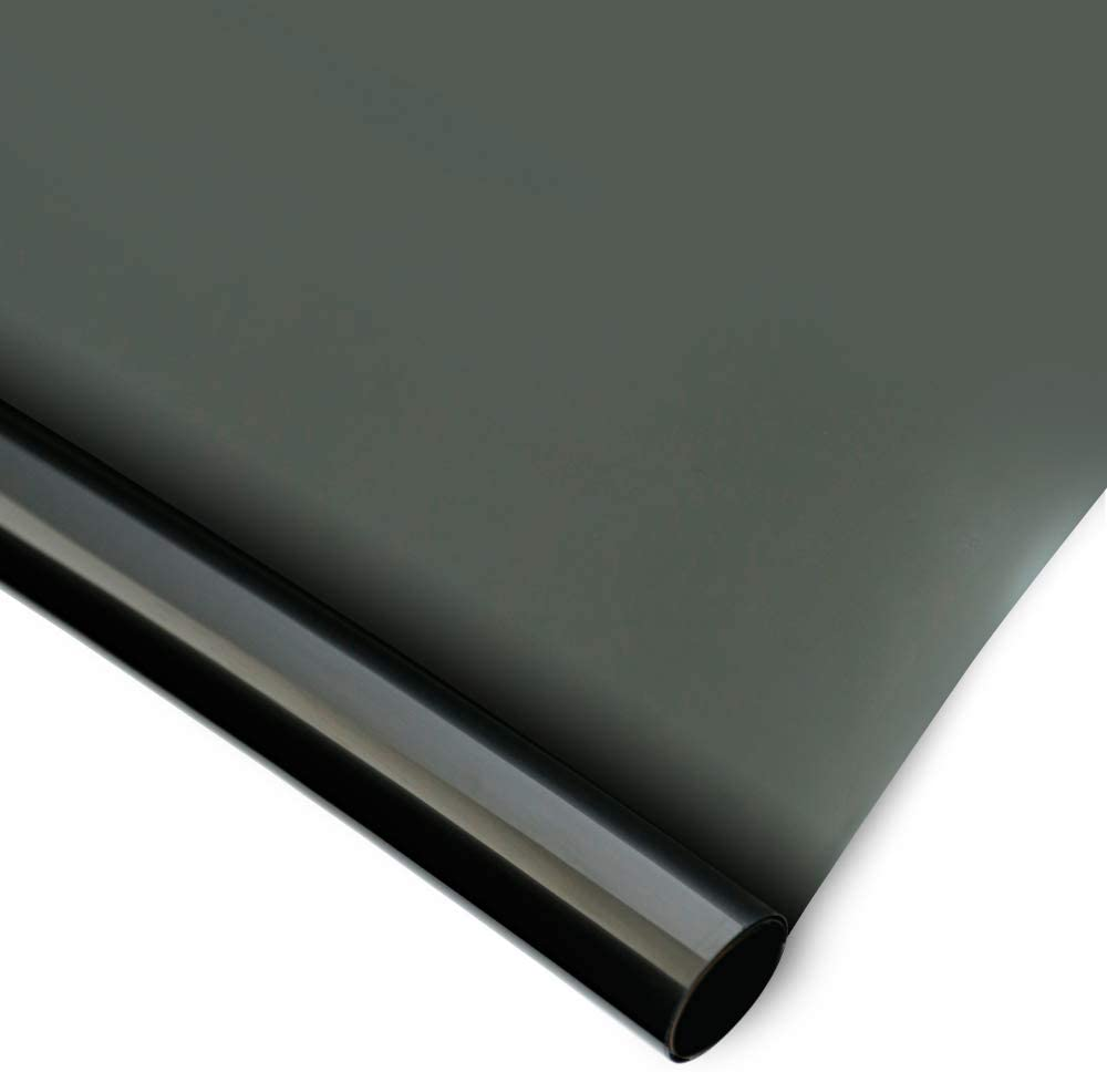 Homein Vinilo Ventana Oscuro para Ventanas 44.5 x 200cm Reflectante para Sol, Control Solar, Anti UV, Antideslumbrante, para Luz Suave Interior (Plata Negra)
