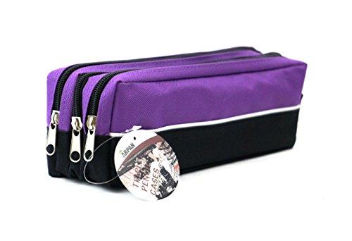 Triple Pocket Bleistift Gase Premium Qualität Reißverschluss Bleistift Tasche zu verwendet werden, wie ein Bleistift Halter oder Reisen Make-up Bag modernes Design, ideale Geschenk an alle Gelegenheit PURPLE- Pack of 4