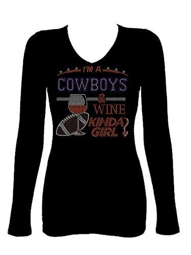 Cowboys & Wine Girl Rhinestone Football V Neck Long Sleeve Tee Shirt -
