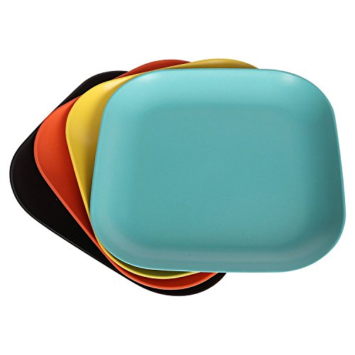 StorageWorks Bamboo Fiber Side Dish Plates, Colorful Serving Dinner Plate Set, Skyblue / Orange / Black / Yellow, Large, (Bamboo Plate Set)