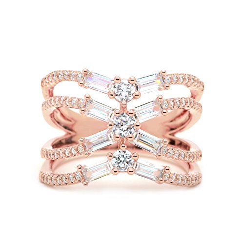 Sparkly Bride CZ Statement Ring Crisscross Rose Gold-Flashed Baguette Women Fashion