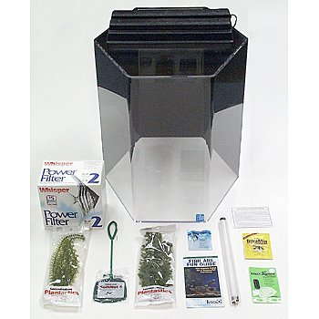 SeaClear 15 gal Hexagon Acrylic Aquarium Junior Executive Kit, 15 by 15 by 20'', Black by SeaClear